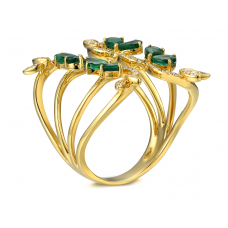 Nerilla Emerald Diamond Ring 18K Yellow Gold