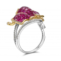 Paccia Ruby Diamond Ring 18K White Gold