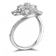 Otis Shared Prong Diamond Ring 18K White Gold