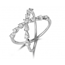 Faye Shared Prong Diamond Ring 18K White Gold