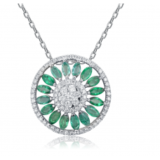 Elna Emerald Diamond Pendant 18K White Gold