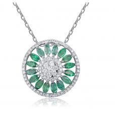 Elna Emerald Diamond Pendant 18K White Gold