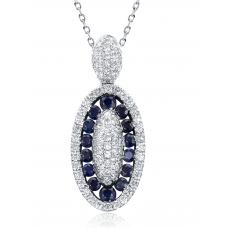 Flavia Sapphire Diamond Pendant 18K White Gold