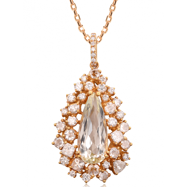 Kunzite Fancy Diamond Pendant 18K Rose Gold