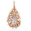Kunzite Fancy Diamond Pendant 18K Rose Gold