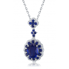 Halo Kyanite Diamond Pendant 18K White Gold