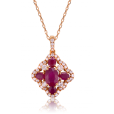 Pietro Ruby Diamond Pendant 18K Rose Gold