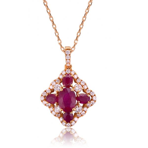 Pietro Ruby Diamond Pendant 18K Rose Gold