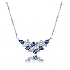 Relest Blue Sapphire Diamond Necklace 18K White Gold