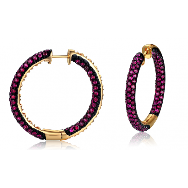 Phebe Pace Ruby Earring 18K Black Gold