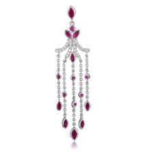 Nefili Ruby Diamond Earring 18K White gold