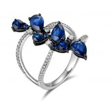 Emma Sapphire Diamond Ring 18K White Gold