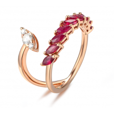 Petra Ruby Diamond Ring 18K Rose Gold