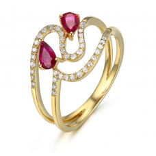 Preeda Ruby Diamond Ring 18K Yellow Gold