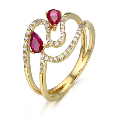 Preeda Ruby Diamond Ring 18K Yellow Gold