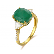 Lucia Emerald Diamond Ring 18k Yellow Gold
