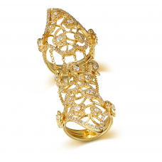 Paula MicroPave Diamond Ring 18K Yellow Gold