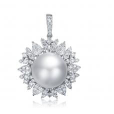 Elba Claw Pearl Diamond Pendant 18K White Gold
