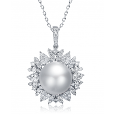 Elba Claw Pearl Diamond Pendant 18K White Gold