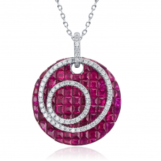 Quinn Ruby Diamond Pendant 18K White Gold