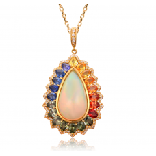 Opal Sapphire Diamond Pendant 18K Yellow Gold
