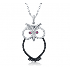 Hoot-ie Spinel & Ruby Diamond Pendant 18K Black Gold