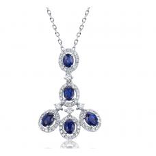 Zora Sapphire Diamond Pendant 18K White Gold
