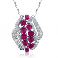 Xenia Ruby Diamond Pendant 18K White Gold