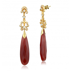 Tara Pave Agate Diamond Earring 18K Yellow Gold