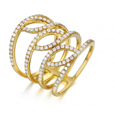 Luciana Channel Diamond Ring 18K Yellow Gold