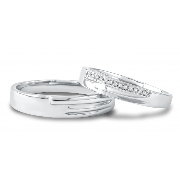 La Verne Micropave Diamond Wedding Ring 18K White Gold(Pair)