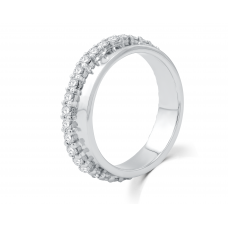 Geneva Channel Diamond Wedding Ring 18K White Gold(Pair)