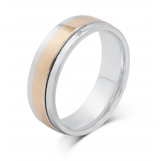 Tavin Men's Wedding Ring 18K White and Rose Gold