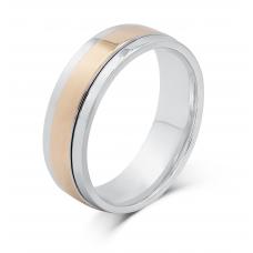 Tavin Men's Wedding Ring 18K White and Rose Gold