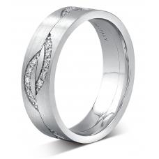 Roch Men's Diamond Wedding Ring 18k White Gold