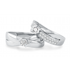 Orane Channel Diamond Wedding Ring 18K White Gold(Pair)