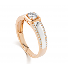 Lancelot Diamond Wedding Ring 18K White and Rose Gold(Pair)