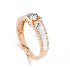 Lancelot Diamond Wedding Ring 18K White and Rose Gold(Pair)