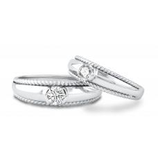 Harriet Channel Diamond Wedding Ring 18K White Gold(Pair)