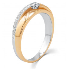 Estee Men's Wedding Ring 18K White and Rose Gold