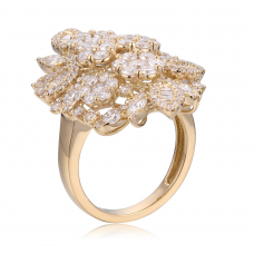 Fleur Prong Diamond Ring 18K Yellow Gold