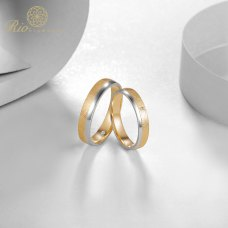 Kerin Diamond Wedding Ring 18K White and Rose Gold(Pair)