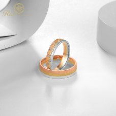 Adalyn Diamond Wedding Ring 18K White, Yellow and Rose Gold(Pair)