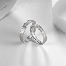 Dearg Diamond Wedding Ring 18K White Gold (Pair)