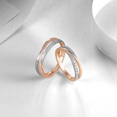 Adel Diamond Wedding Ring 18K White & Rose Gold (Pair)