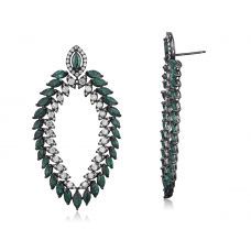 Botany Emerald Diamond Earring 18K Black Gold