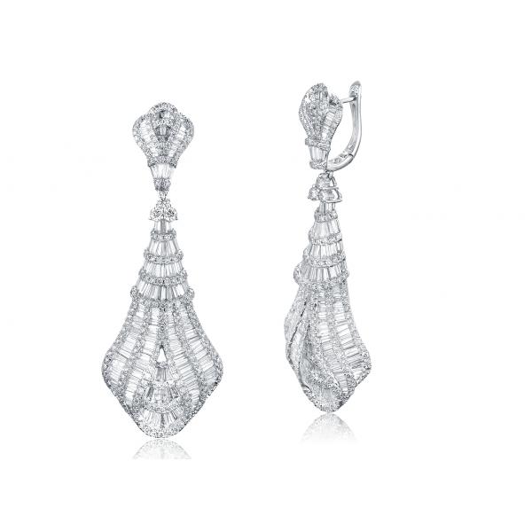 Crown Diamond Drop Earring 18k White Gold