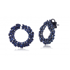 Circlet Sapphire Diamond Earring 18K Black Gold