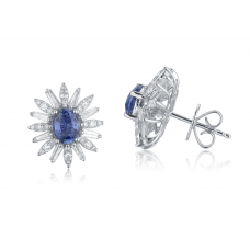 Ritz Sapphire Diamond Earring 18K White Gold