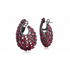 Swan Ruby Diamond Earring 18K Black Gold
